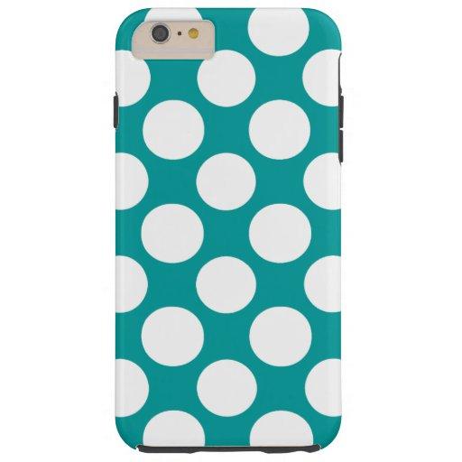 Motif de pois blanc de turquoise moderne coque iPhone 6 plus tough