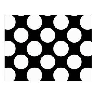 Motif de pois blanc noir moderne carte postale