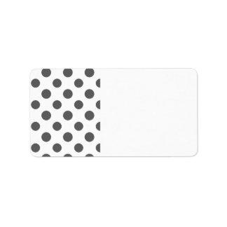 Motif de pois de blanc gris de charbon de bois étiquettes d'adresse