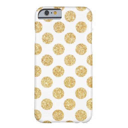 Motif de pois élégant de scintillement d'or blanc coque iPhone 6 barely there