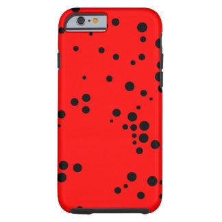Motif de pois noir et rouge coque iPhone 6 tough
