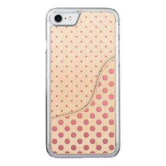 Motif de pois rose doux coque en bois iPhone 7