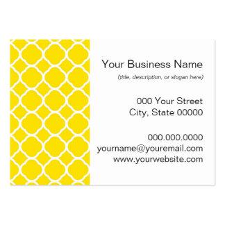 Motif de Quatrefoil dans jaune citron et blanc Modèles De Cartes De Visite