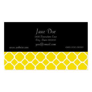 Motif de Quatrefoil dans jaune citron et blanc Carte De Visite