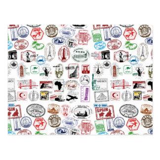 Motif de timbres de voyage cartes postales