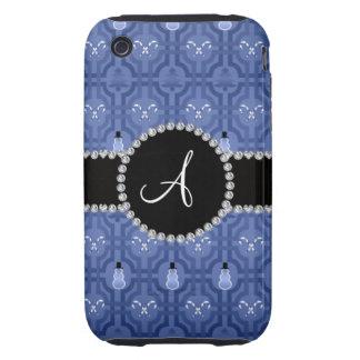 Motif de treillis de bonhomme de neige de bleu mar coque tough iPhone 3