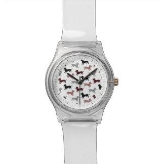 Motif de vacances de teckels de damassé montres cadran