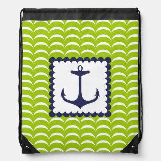Motif de vagues vertes nautique d'ancre de bleu ma sacs avec cordons