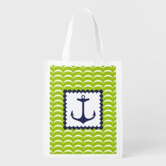 Motif de vagues vertes nautique d'ancre de bleu ma sac d'épicerie