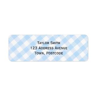 Motif diagonal bleu-clair de guingan étiquettes d'adresse retour