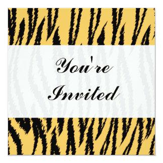 Motif d'impression de tigre. Orange et noir Carton D'invitation 13,33 Cm