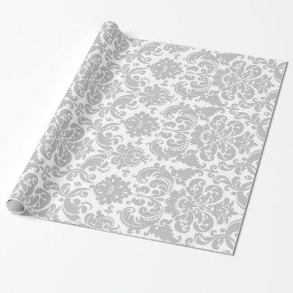 Motif élégant gris et blanc de damassé papiers cadeaux noël