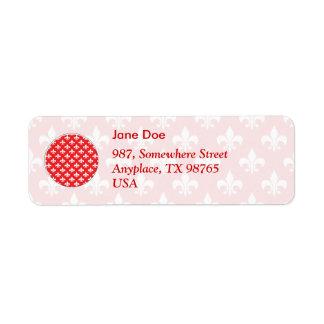 motif Fleur-De-lis sur le rouge Étiquettes D'adresse Retour