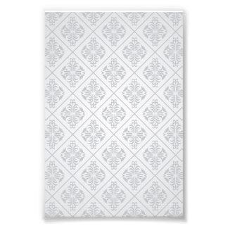 Motif floral blanc de diamants tirage photo