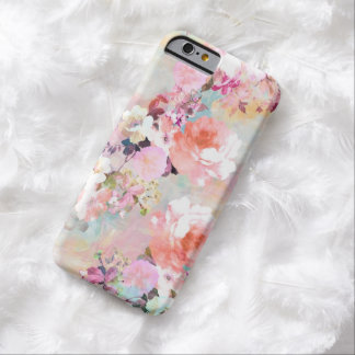 Motif floral chic d'aquarelle turquoise rose coque barely there iPhone 6