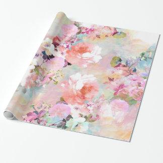 Motif floral chic d'aquarelle turquoise rose papier cadeau noël