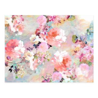 Motif floral chic d'aquarelle turquoise rose roman carte postale
