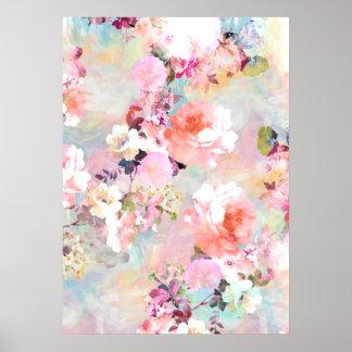 Motif floral chic d'aquarelle turquoise rose roman poster