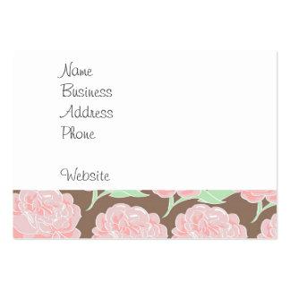 Motif floral de fleurs bronzages roses assez carte de visite grand format