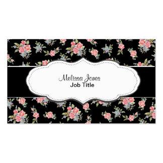 Motif floral de rose de noir et de rose carte de visite standard