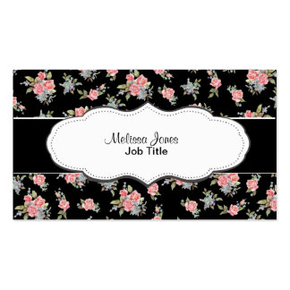 Motif floral de rose de noir et de rose cartes de visite personnelles