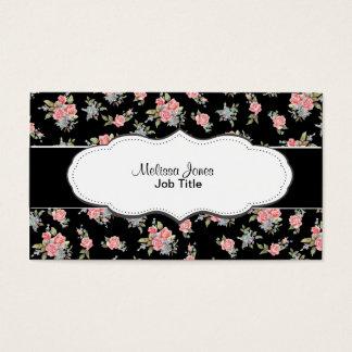 Motif floral de rose de noir et de rose cartes de visite