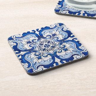 Motif floral de tuile antique d'Azulejo Sous-bocks