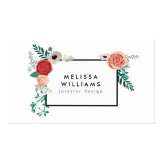 Motif floral moderne vintage sur le concepteur modèles de cartes de visite