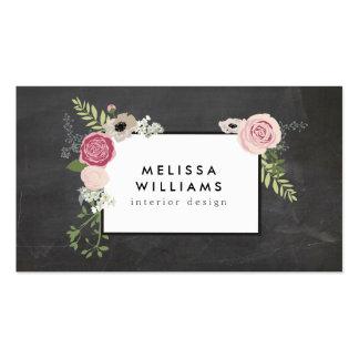 Motif floral moderne vintage sur le concepteur de carte de visite standard