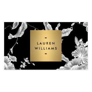 Motif floral noir élégant 3 avec le logo de nom carte de visite standard