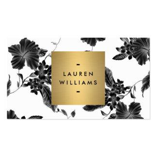 Motif floral noir élégant 4 avec le logo de nom carte de visite standard