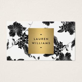 Motif floral noir élégant 4 avec le logo de nom cartes de visite