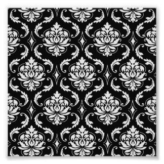 Motif floral noir et blanc classique de damassé photos