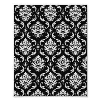 Motif floral noir et blanc classique de damassé photos d'art