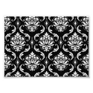 Motif floral noir et blanc classique de damassé impression photographique