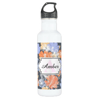 Motif floral orange violet gris vintage élégant bouteille d'eau