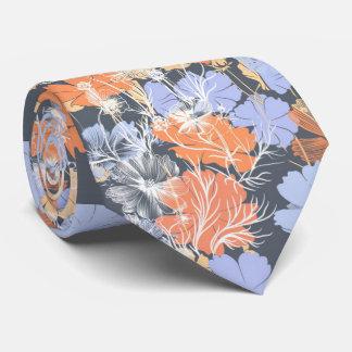 Motif floral orange violet gris vintage élégant cravate