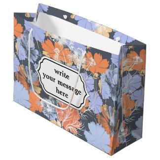 Motif floral orange violet gris vintage élégant grand sac cadeau