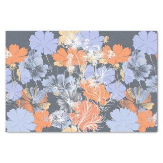 Motif floral orange violet gris vintage élégant papier mousseline