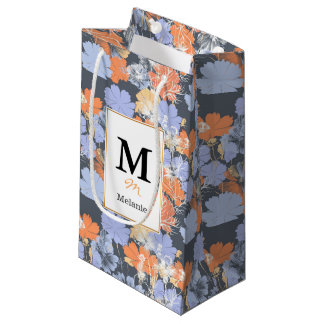 Motif floral orange violet gris vintage élégant petit sac cadeau