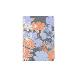 Motif floral orange violet gris vintage élégant protège-passeport