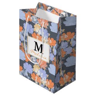 Motif floral orange violet gris vintage élégant sac cadeau moyen