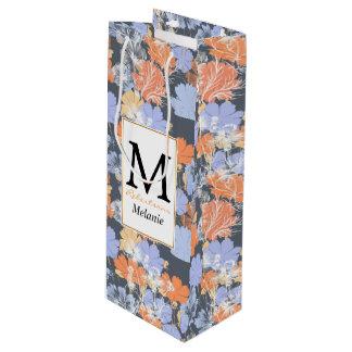 Motif floral orange violet gris vintage élégant sac cadeau pour bouteille