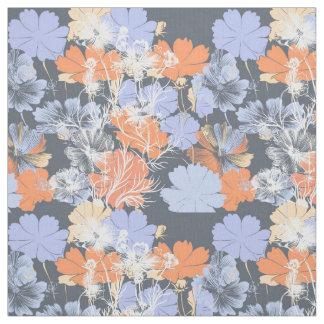 Motif floral orange violet gris vintage élégant tissu