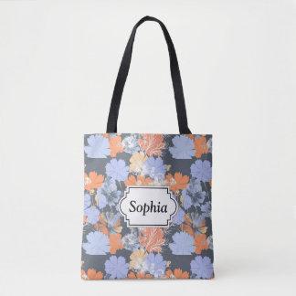 Motif floral orange violet gris vintage élégant tote bag