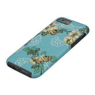 Motif floral turquoise de papier peint vintage de coque tough iPhone 6