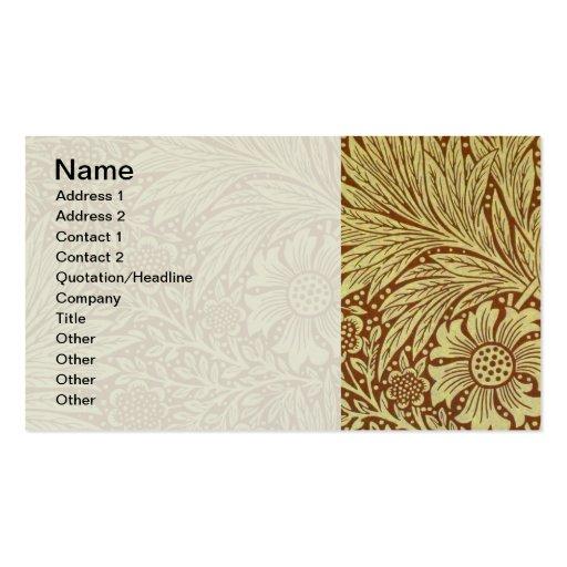 Motif floral vintage de papier peint de souci cartes de visite personnelles