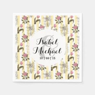 Motif floral vintage de vieux jardin anglais serviette en papier