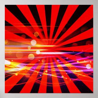 Motif fou abstrait d éclat d étoile de rayon léger posters