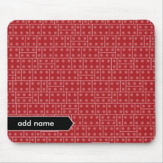 Motif géométrique rouge de bloc constitutif tapis de souris